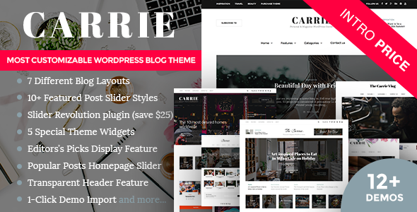 Carrie - Personal & Magazine WordPress Responsive Clean Blog Theme - Personal Blog / Magazine