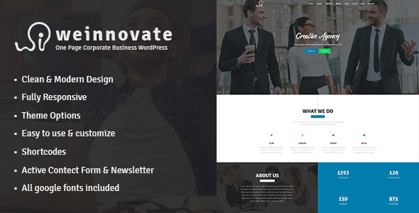 Weinnovate - One Page Corporate Business WordPress - Corporate WordPress
