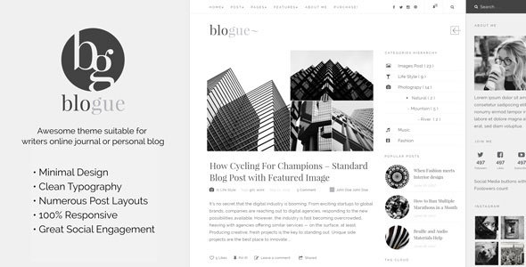 Blogue - Personal WordPress Blog Theme - Blog / Magazine WordPress