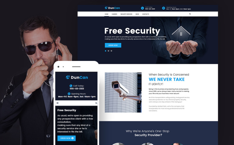 DunCan - Security Systems & Bodyguard Services WordPress Theme New Screenshots BIG